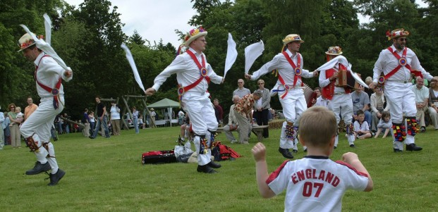 Morris dancing on the village green.
